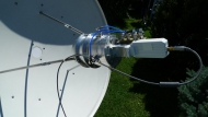 S/X Dual-Band Coaxial Feed for Satellite Communication (photo by OM6AA)